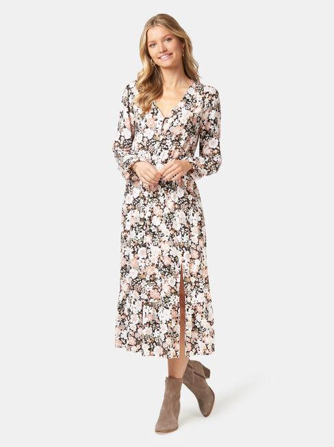 Scarlett Long Sleeve Midi Dress, Floral, hi-res