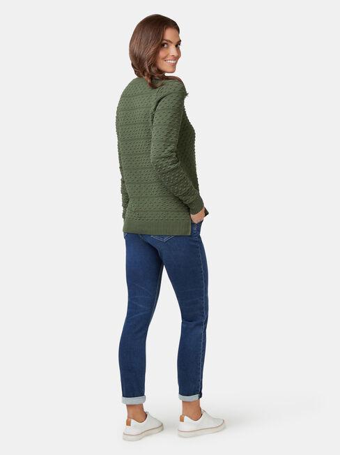 Lyn Linear Bobble Knit, Green, hi-res