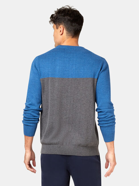 Conrad Block Crew Knit, Blue, hi-res