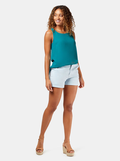 Vickie Button Back Tank, Blue, hi-res