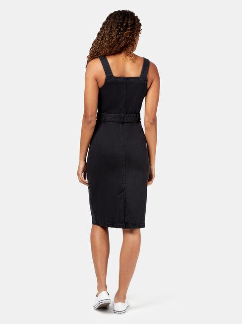 Simone Button Through Denim Dress, Black, hi-res