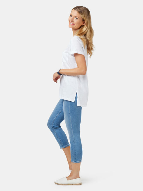 Relaxed Pocket Slub Tee, White, hi-res