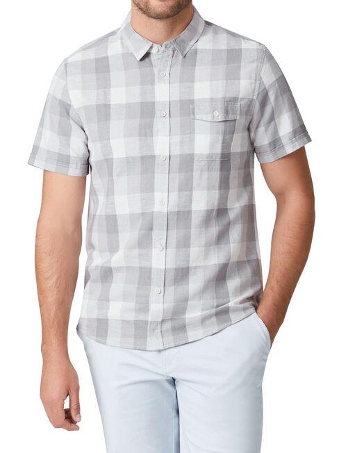 Byrne Short Sleeve Check Shirt, Grey, hi-res