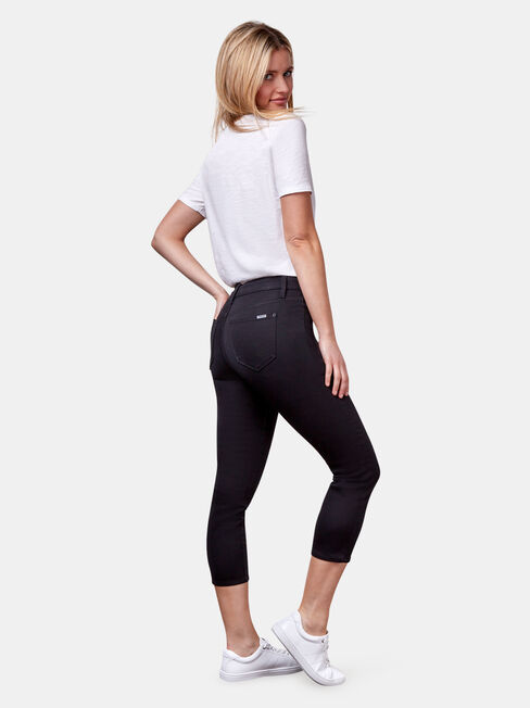 Kara Mid Waist skinny capri, Black, hi-res