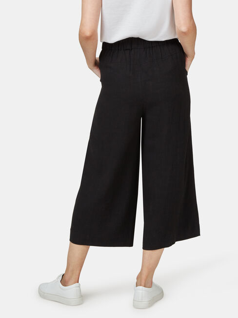 Ava Wide Leg Elastic Waist Pant, Black, hi-res