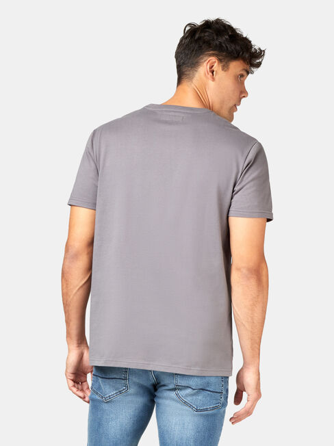 SS Billy Print Crew Tee, Grey, hi-res