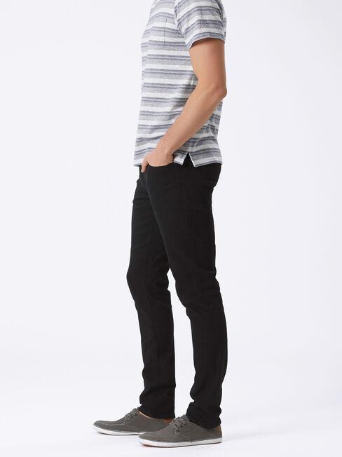 Slim Tapered Jeans Black Rinse, Black, hi-res