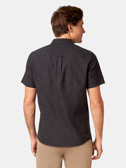 Brando Short Sleeve Textured Shirt, Black, hi-res