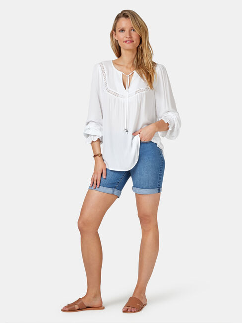 Kinsly Peasant Blouse, White, hi-res
