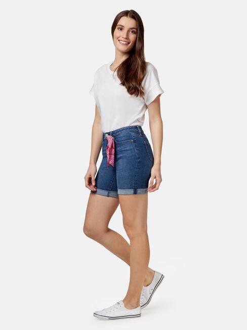 Kelsey Bermuda Short With Tie, Blue, hi-res