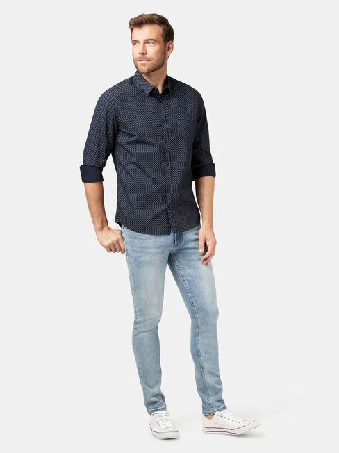 Jaxon Long Sleeve Print Shirt, Blue, hi-res