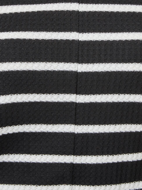 Hannah Tie Front Textured Top, Black, hi-res
