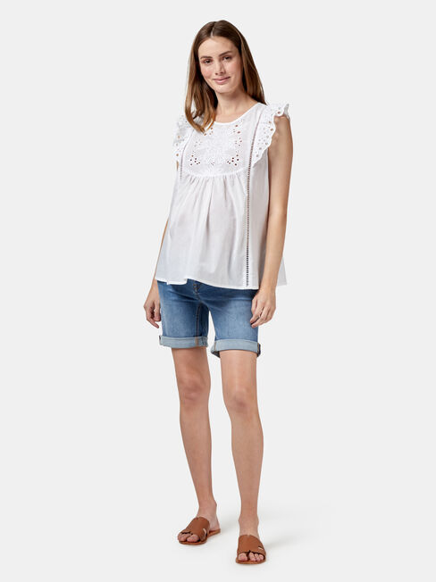 Claire Maternity Broderie Top, White, hi-res