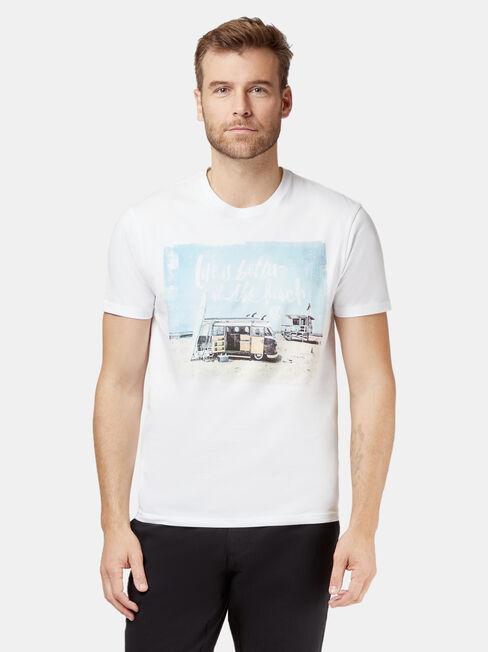 SS VW Beach Print Crew Tee, White, hi-res