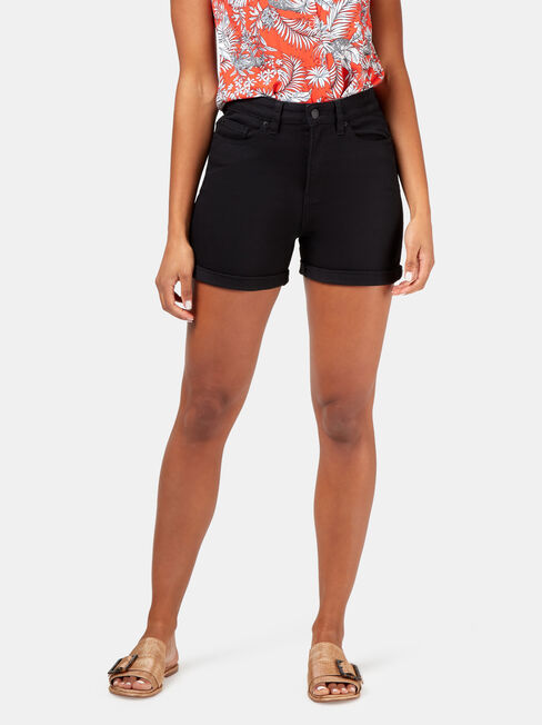 Isla High Waisted Short, Black, hi-res