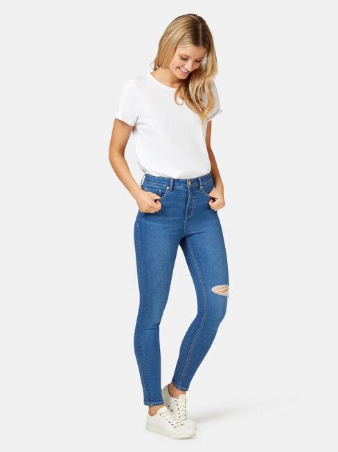Valerie Mid Waisted Skinny 7/8 Jeans Mid Indigo