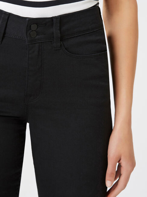 Tummy Trimmer Slim Straight Jeans  Black, Black, hi-res