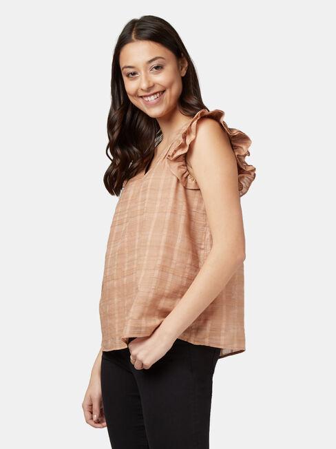 Freya Textured Frill Sleeve Top, Brown, hi-res