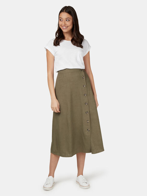 Daisy Button Front Skirt, Green, hi-res
