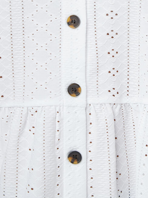 Eden Lacey Button Through Tee, White, hi-res