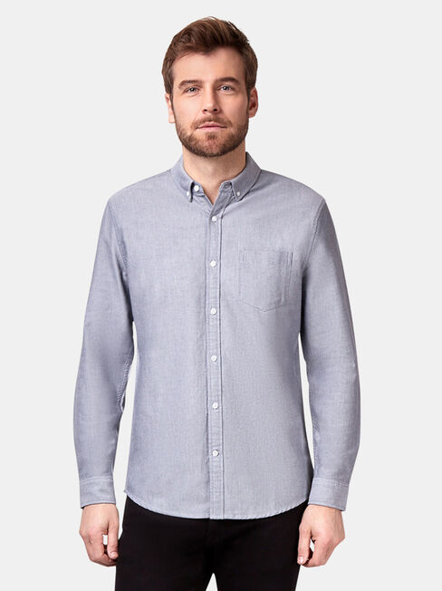 Hayes Long Sleeve Oxford Shirt, Grey, hi-res