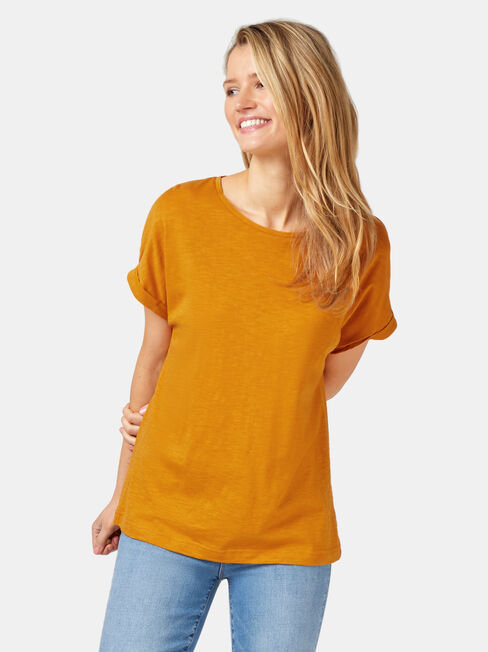 Drop Shoulder Tee, Yellow, hi-res