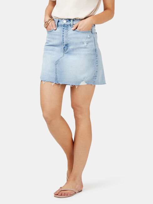 Simone Distressed Denim Skirt, White, hi-res