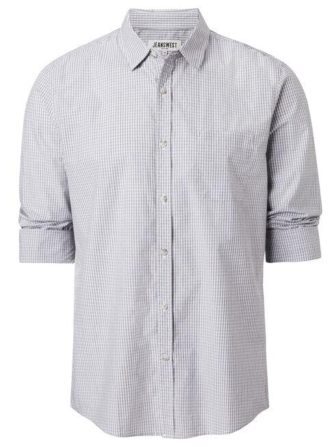 Albion Long Sleeve Check Shirt, Grey, hi-res
