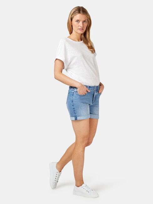 Mariana Boyfriend Short, White, hi-res