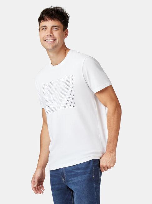 Palmer Short Sleeve Print Crew Tee, White, hi-res