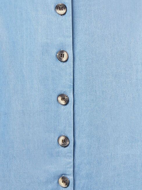 Casey Button Through Dress, Blue, hi-res