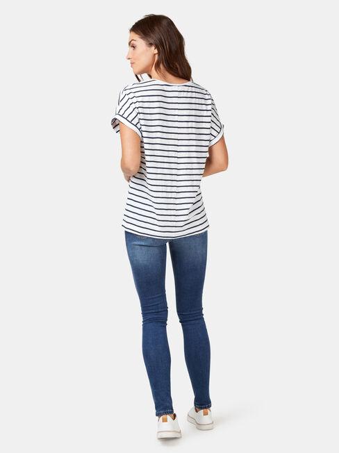 Drop Shoulder Tee, Blue Stripe, hi-res