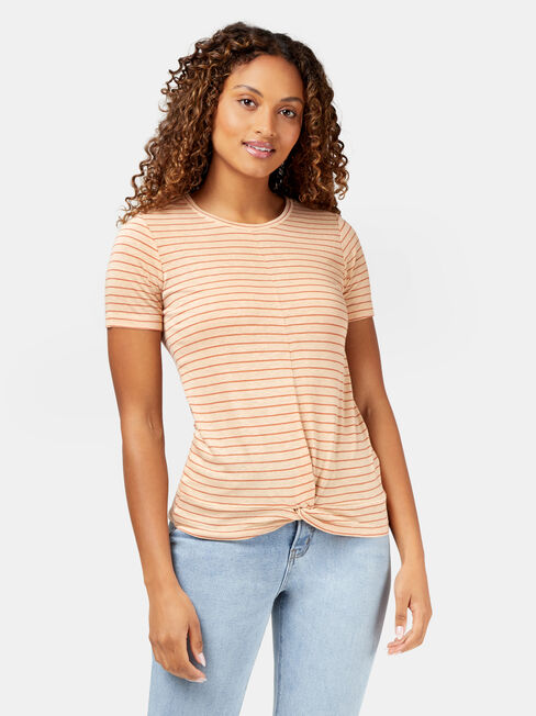 Nia Knot Front Tee, Red, hi-res