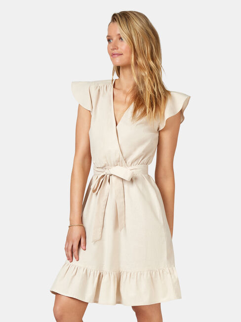 Arianna Ruffle Dress, White, hi-res