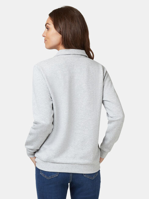 Zip Front Sweat, Grey, hi-res