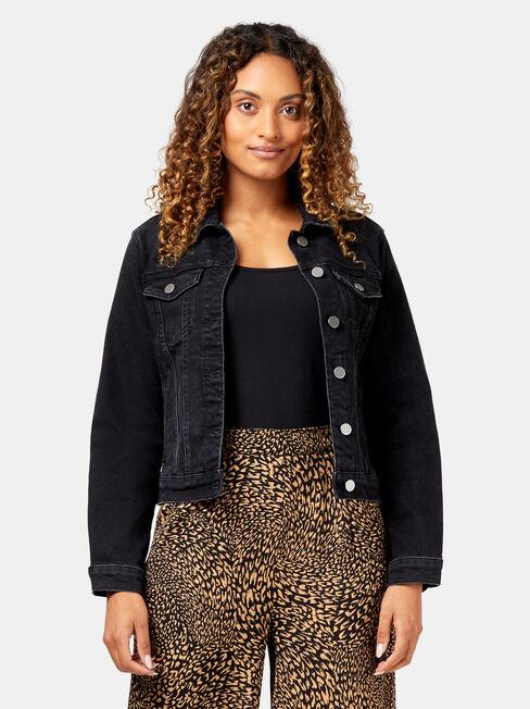 Audrey Denim Jacket, Black, hi-res