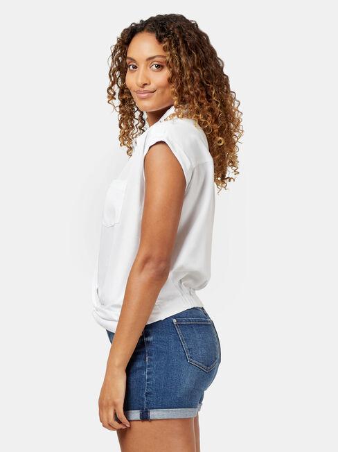 Zoe Twist Front Shirt, White, hi-res