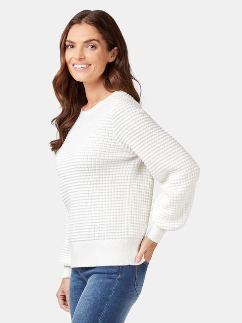 Quinn Bobble Cotton Knit, White, hi-res