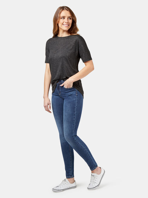 Lexie Lurex Tee, Black, hi-res