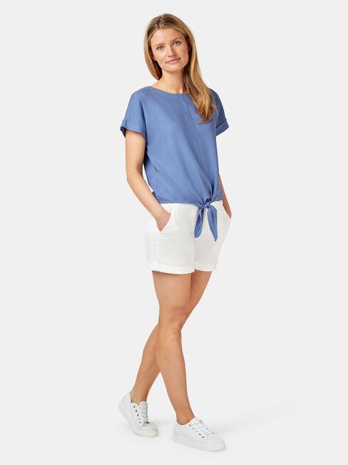 Luna Linen Blend Top, Blue, hi-res