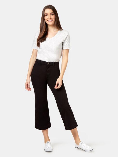 Amelie Wide Leg Crop Pant, Black, hi-res
