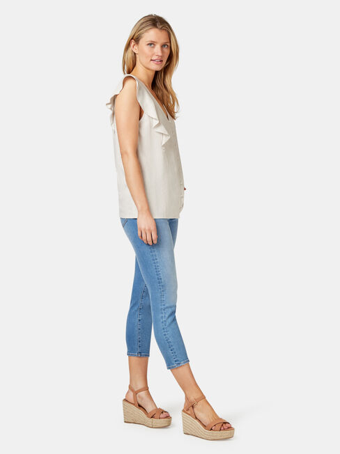 Penelope Linen Blend Top, White, hi-res