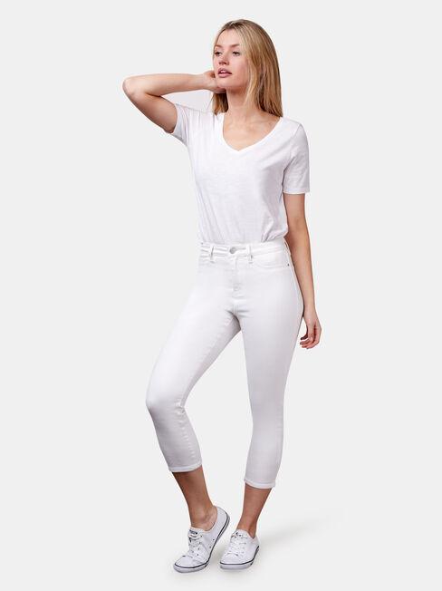 Kara Mid Waist Skinny Capri, White, hi-res