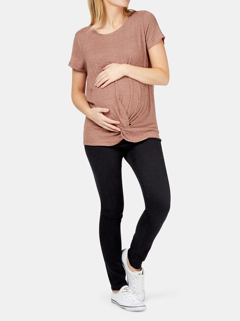 Janine Maternity Twist Tee, Stripe, hi-res