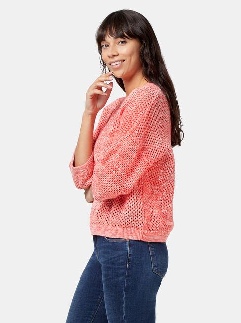 Molly Open Stitch Pullover, Orange, hi-res
