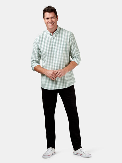 Knox Long Sleeve Check Shirt, Green, hi-res