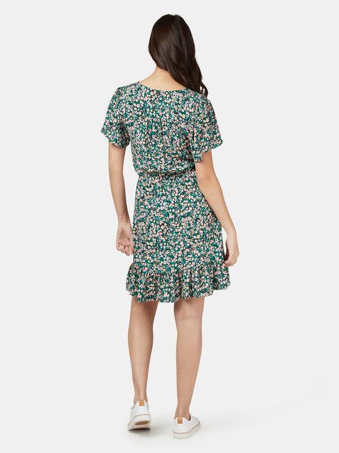 Harmony Flutter Sleeve Dress, Green, hi-res