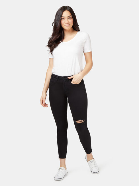 Isabelle Distressed Mid Waisted Skinny 7/8th, Black, hi-res