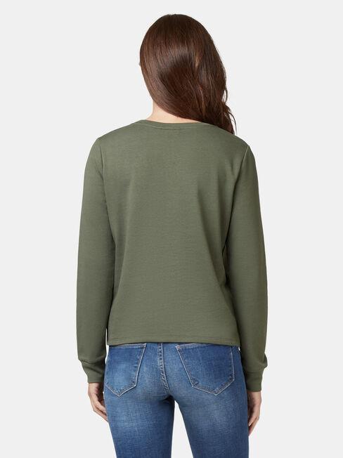 Natasha Twist Front Sweater, Green, hi-res