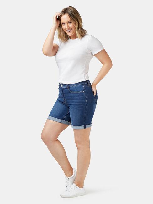 Sophia Curve Embracer Bermuda Short, Blue, hi-res
